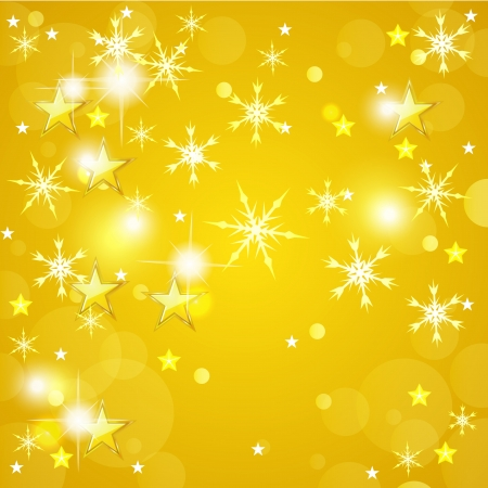 Yellow Christmas background with golden stars and snowflakes Vector