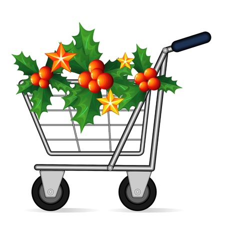 christmas promotion: Empty shopping cart decorated with holly with red berries