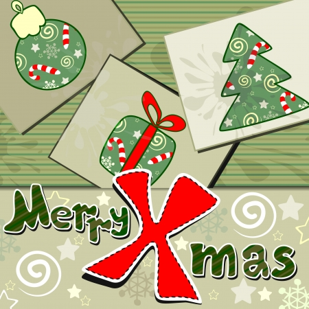 Scrapbook styled Christmas greeting with vintage cards Vector