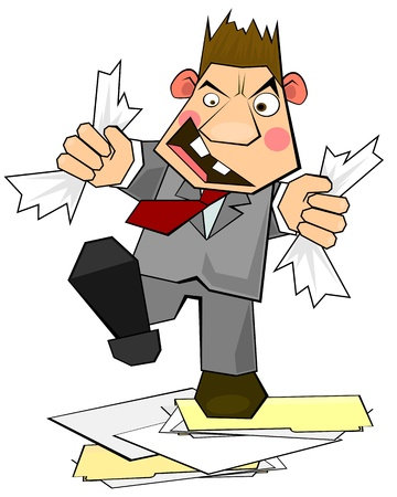 tatter: Sketchy clerk of businessman in rage destroying documents and folders Illustration