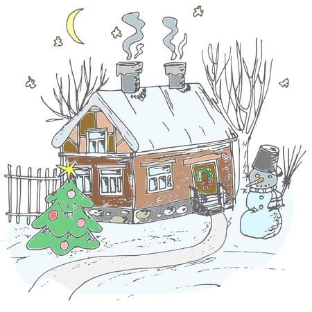 bowery: Sketch of country house and yard with Christmas fir tree  Illustration