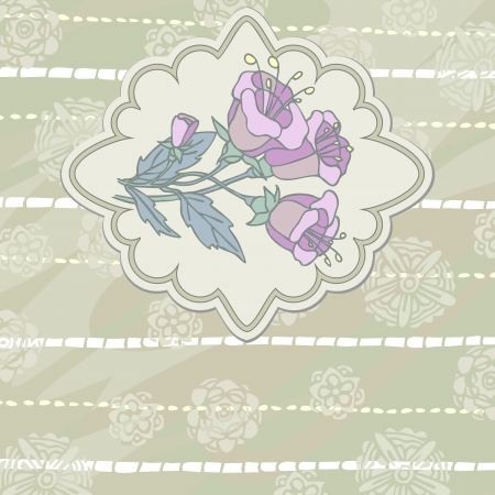 Beige texture with copy space and label with vintage mauve flower Vector