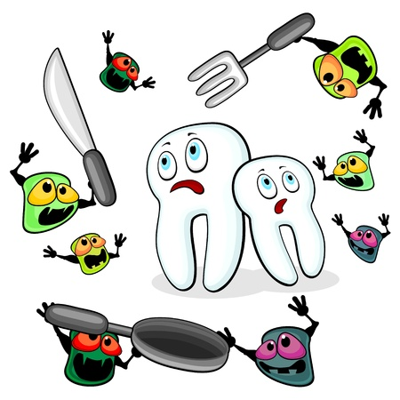Two teeth are attacked by aggressive germs of caries Vector