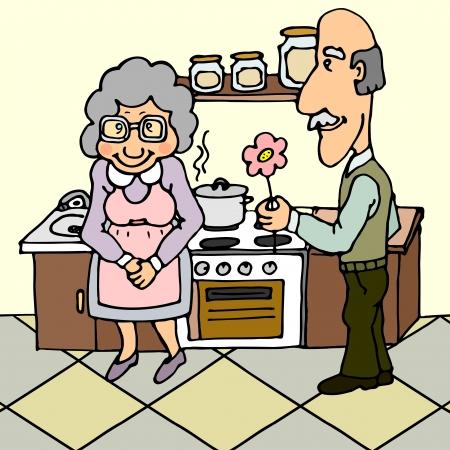 Bejaarde man het geven van bloem aan zijn vrouw in de buurt fornuis
