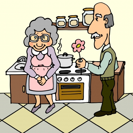 marido y mujer: Hombre mayor que da la flor a su esposa cerca de estufa de la cocina