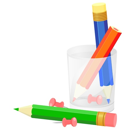Colorful pencils in transparent plastic holder and pink pushpins Stock Vector - 16888409