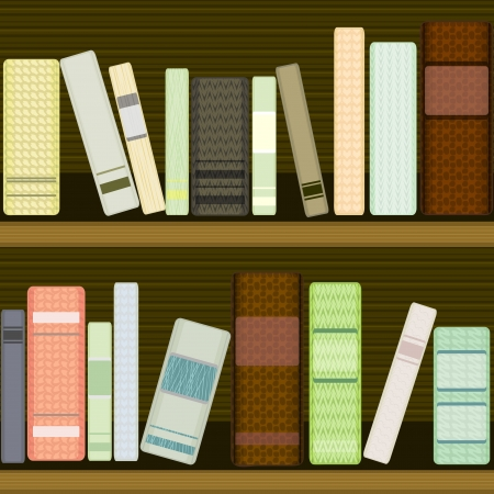 Seamless dark texture of wooden bookshelf with textured books Vector