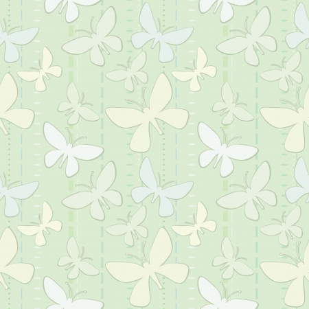 Pale green seamless wallpaper with stylized butterflies Stock Vector - 17446583