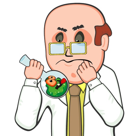 Confused scientist holding flask with big teasing germ Illustration