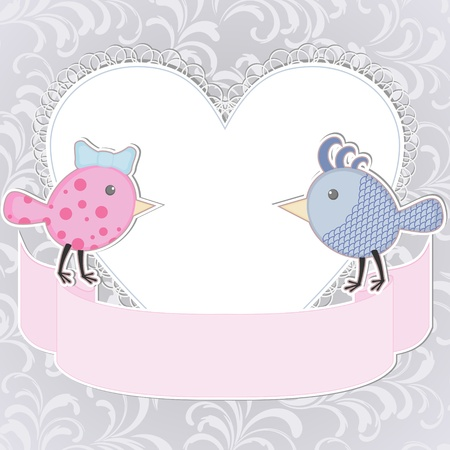 Greeting card with two stylized birds and heart Stock Vector - 17599836