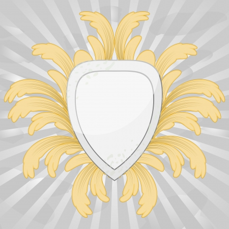 Vintage gray shield with floral ornament around Stock Vector - 17599826