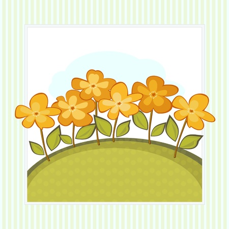 Simple retro card with stylized orange flowers and green border Stock Vector - 17599833