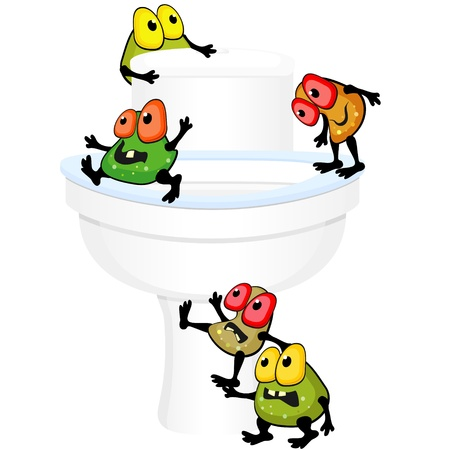 Ugly germs are walking around toilet bowl Vector