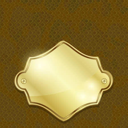leather texture: Simple blank golden plate over leather texture Illustration