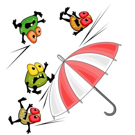 Bright paraplu en kiemen als concept van de antibacteriële werking of bescherming