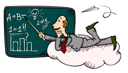 algebra: Teacher or businessman on cloud near blackboard promoting some idea