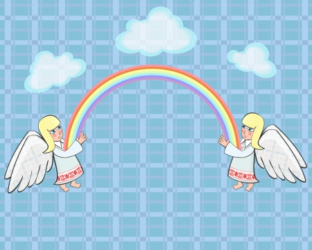 angels in heaven: Two angels and rainbow in ethno Belarusian style Illustration