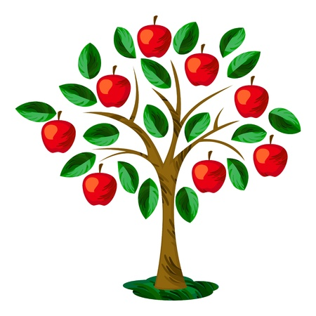 Geïsoleerde appelboom met bladeren en vruchten Stock Illustratie