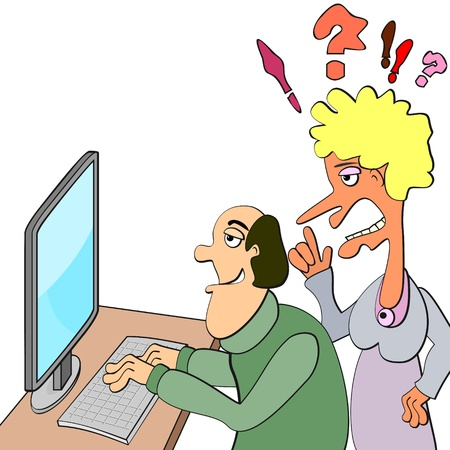 Calm man working or playing on comp and ugly shouting woman