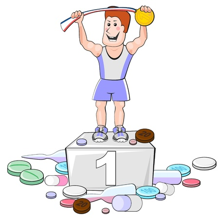 narcótico: Forte desportista com medalha de ouro e uma grande quantidade de drogas Ilustração