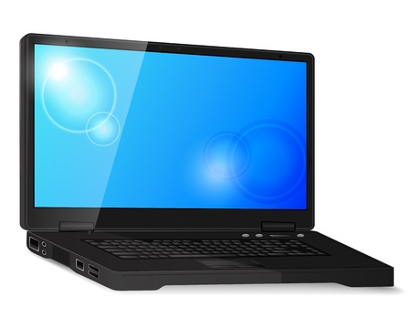 Black generic laptop with shadow and blank screen Stock Vector - 18982624