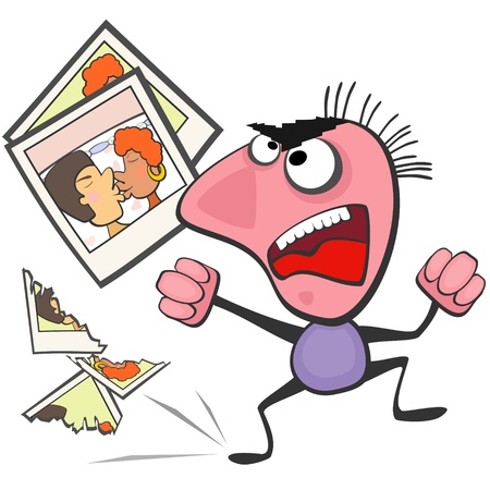 indignation: Angry man destroying pictures of his woman and her lover Illustration