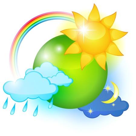 Grote icoon van de verschillende weersomstandigheden rond groene planeet Stock Illustratie