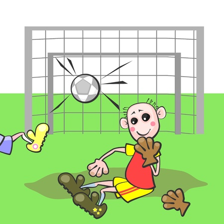 Goalkeeper sitting with silly smile near gate with ball in net Vector