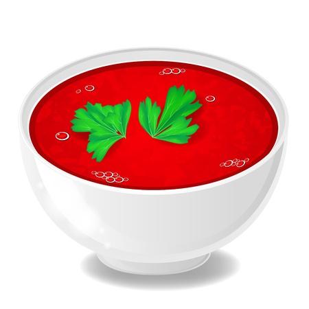 sopa: Blanco taz�n con sopa de tomate y perejil