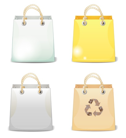 reprocess: Set of four colorful shopping bags with shadow
