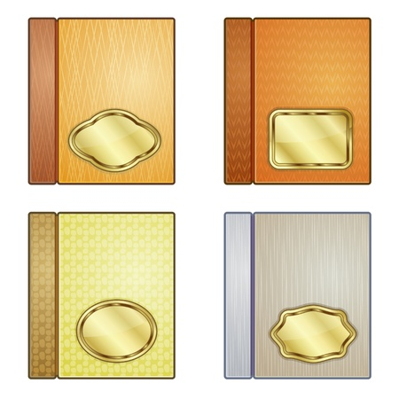 Set of four icons of books with blank golden plates Illustration