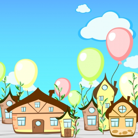 Cartoon greeting card with fairy-tale town and balloons Vector