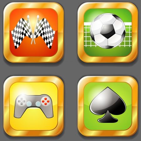 Set of four app icons over white for different games Vector