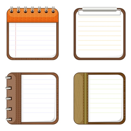 Set of four notepads over white for app icons Stock Vector - 20942437