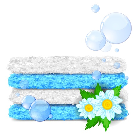 terrycloth: Stack of clean towels with flowers and soap bubbles Illustration