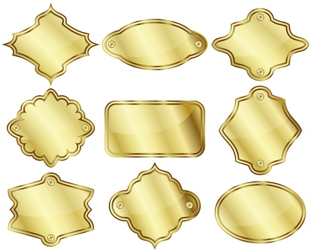 Set of nine isolated golden labels or plates Ilustrace