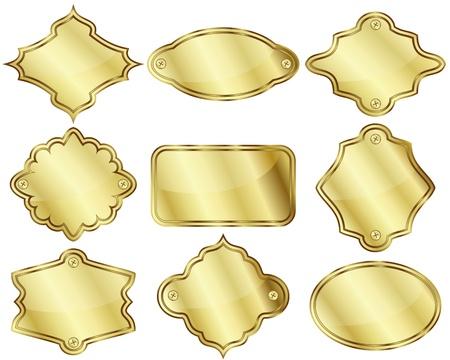gold plaque: Set of nine isolated golden labels or plates Illustration