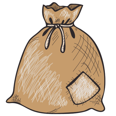 botch: Brown hand drawn sack with patch and rope Illustration
