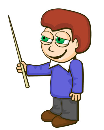 Cartoon schoolboy showing something with pointer over white