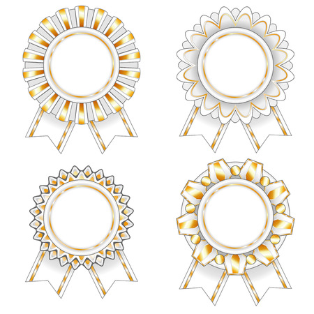 award winning: Set of four blank gold and white isolated rosettes
