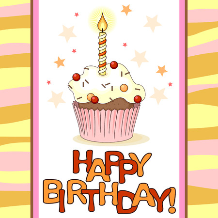 Birthday card with cartoon cupcake and small candle