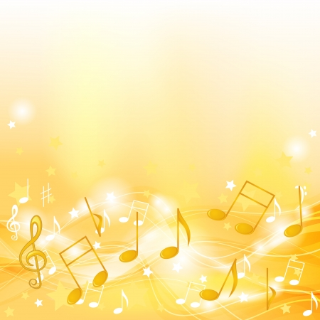 Abstract yellow background with music symbols and stars Vector