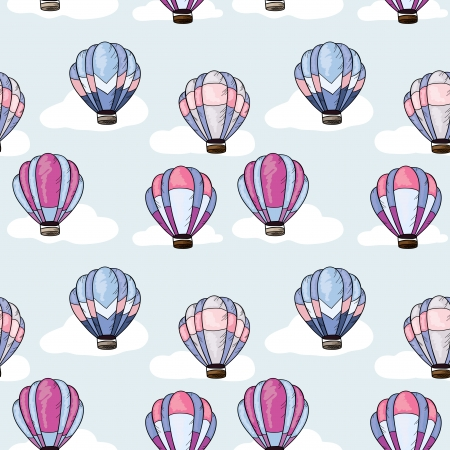 Retro seamless texture with hot air balloons and clouds Vector