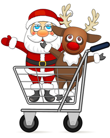 Smiling reindeer and Santa Claus standing in shopping cart Vector