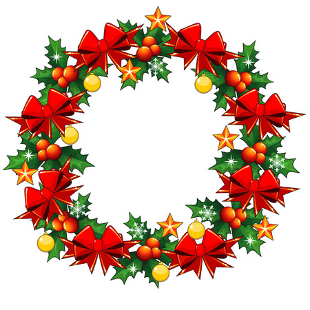 holly berry: Christmas wreath made of holly berry and decorated with red bows
