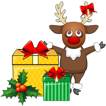 cartoon reindeer: Cartoon reindeer and two decorated Christmas presents Illustration