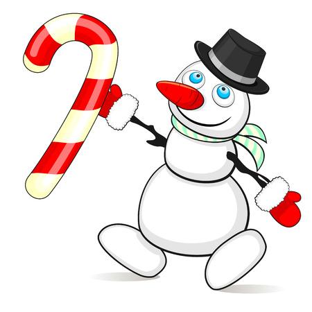 canne a sucre: bonhomme de neige de bande dessin�e et de la canne � sucre doux de No�l