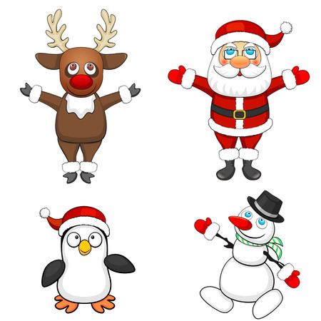 Set of four cartoon Christmas characters isolated over white