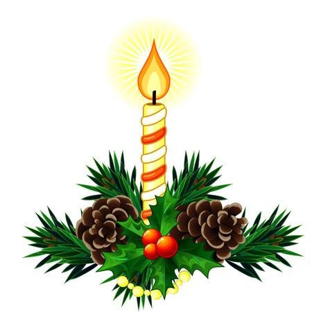 pomme de pin: Décoration de Noël faite de brindilles de sapin avec des bougies et les baies de houx Illustration