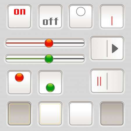 Set of sliders and buttons for user interface Vector